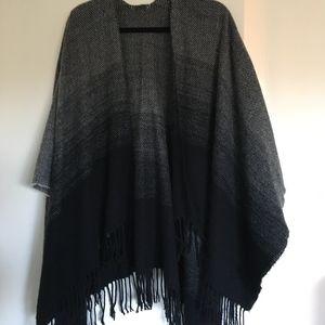 Black Ombre Sweater Poncho